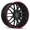 Ruff Racing R355 17X7.5 Flat Black with Red Pinstripe