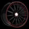 Ruff Racing R950 15X6.5 Gloss Black with Red Pin Stripe