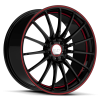 Ruff Racing R950 17X7.5 Gloss Black with Red Pin Stripe