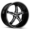 Ruff Racing R953 22X9 Gloss Black with Machined Face and Pin Stripe