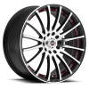 SPEC-1 SP-12 17X7.5 Gloss Black Machined Red