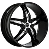 Status Dystany 822 Black with Chrome Inserts 26 X 10 Inch Wheel