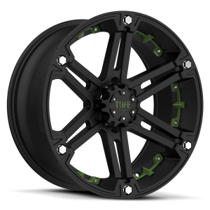 Tuff T-01 Flat Black with Green Inserts