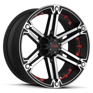 Tuff T-01 Flat Black with Machined Face & Flange & Red Inserts