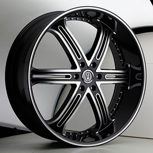Versante 226B Black with Machined Stripe 24 X 9.5 Inch Wheel