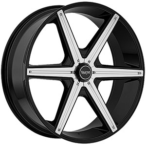 Viscera 842 Black with Chrome Inserts 26 X 9.5 Inch Wheel