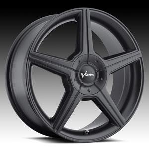 Vision 168 AutoBahn Matte Black 17 X 7 Inch Wheels