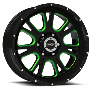 Vision 399 Fury Gloss Black with Green Tint on Windows