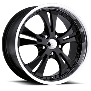 Vision 539 Shockwave 16X7 Gloss Black with Machine Lip