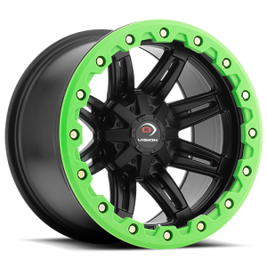 Vision 551 Five Five One 14X8 Matte Black w/ Green Lip Armor