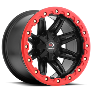 Vision 551 Five Five One 14X8 Matte Black w/ Red Lip Armor
