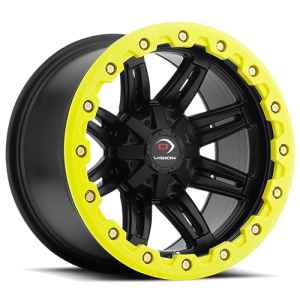 Vision 551 Five Five One 14X8 Matte Black w/ Yellow Lip Armor
