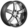 Vossen VVS 084 Black Machined w Black Lip 22 X 9 Inch Wheel