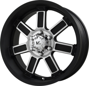 V-Rock Diesel 17X9 Matte Black Paint with Machined Spoke Hub