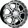 V-Tec 372 RAPTOR 16X8 gloss black machined face & lip